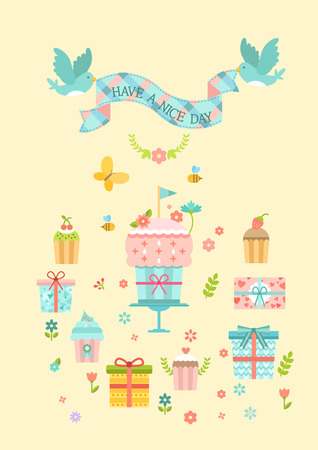 Have a nice day infographic with icon Çizim
