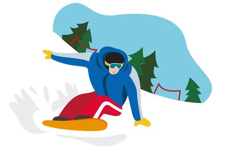 Winter man genieten van snowboard