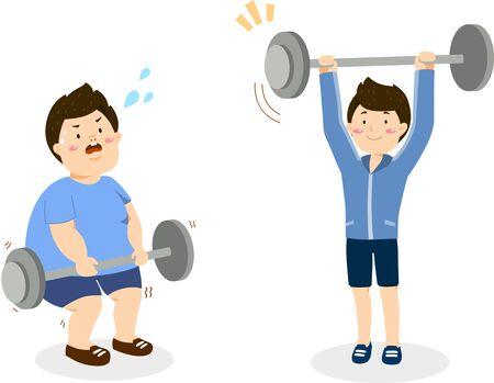 Man diet doing exercise Illustration
