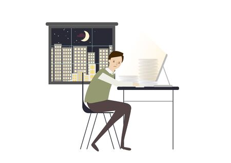 Man working late at night Illustration