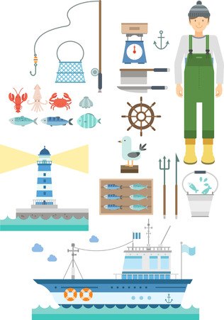 Fisherman infographic with icon and graph Illustration