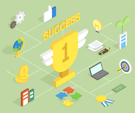 3D success isometric infographic with icon Illustration