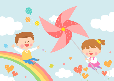 Children riding on rainbow Vectores