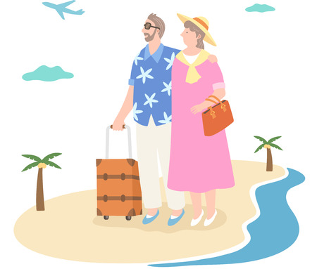 The aged couple going to trip Illustration