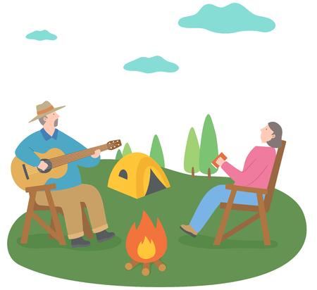 The aged couple enjoying camping Illustration