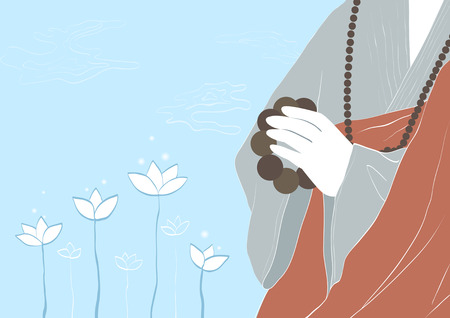 Buddhist with rosary