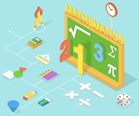 아이콘으로 수학 수업 3D infographic 일러스트