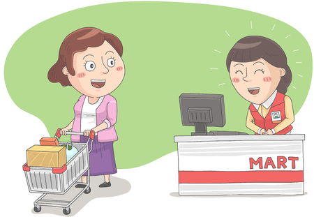 Woman feel thank about cashier