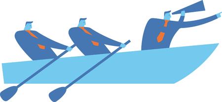 Businessmen working at the oars Çizim