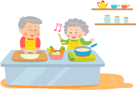The aged couple cooking