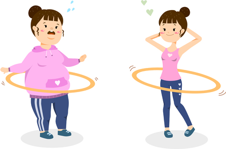 Woman diet doing hula hoop Illustration