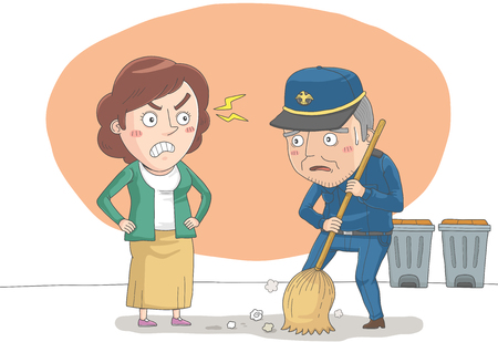 Woman getting angry about keeper man Illustration