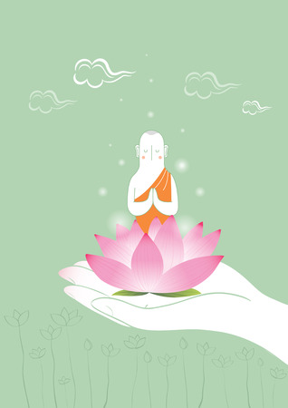 Hand holding Buddhist with lotus