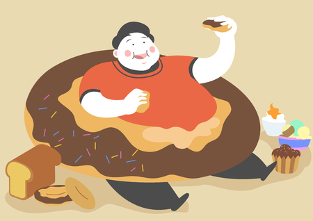 Overweight man eating junk food Illustration