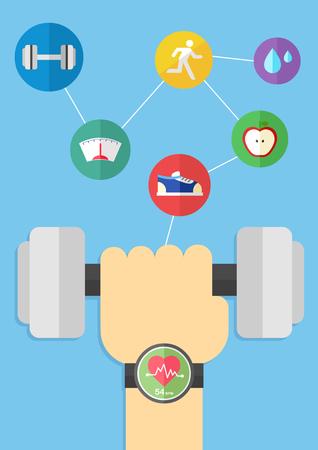 Smartwatch with technology network Иллюстрация