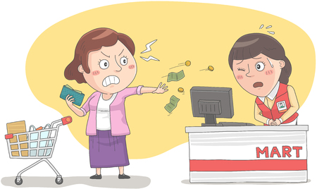 Woman getting angry to cashier Ilustracja