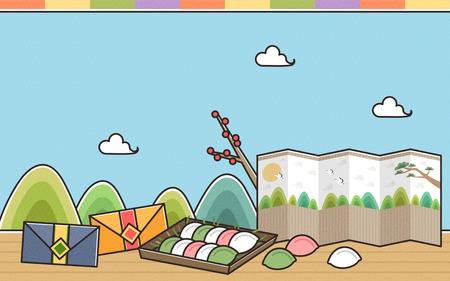 Songpyen with Korea tradition house Illustration