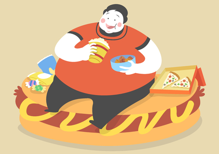 Overweight man eating junk food Çizim