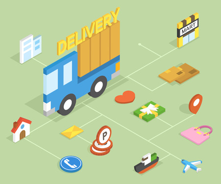 3D delivery isometric infographic with icon