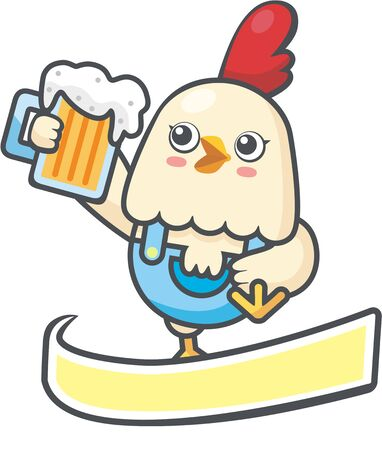 Chicken and beer with banner