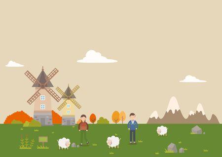 People in autumn pasturage