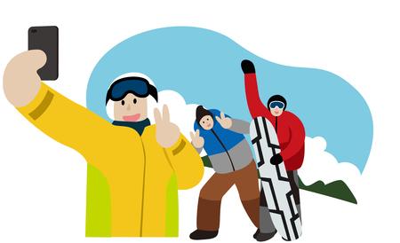 Winter vriend selfie te nemen Stock Illustratie