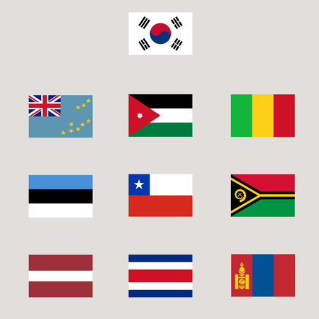 Set of various world flag