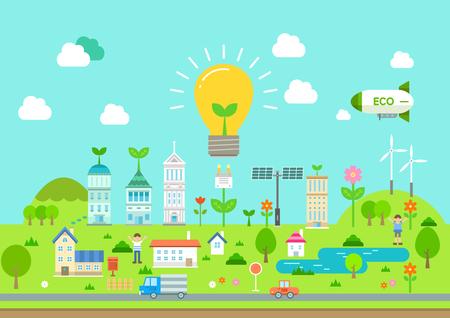 Eco friendly city flat design