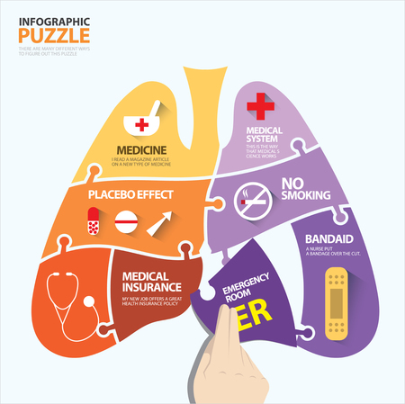 Lung shape infographic puzzle about health