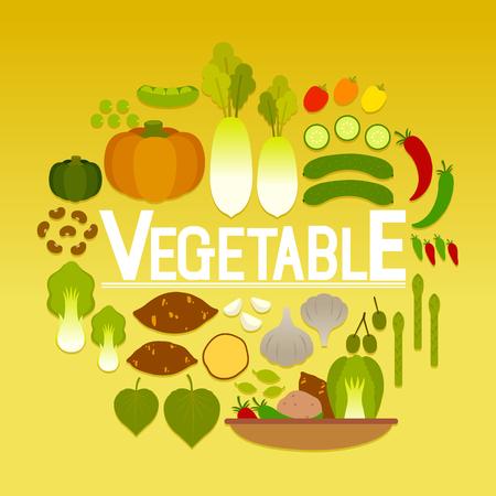 Set of various vegetable icon Illustration