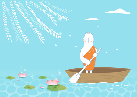 Buddhist riding boat on pond Stock Illustratie
