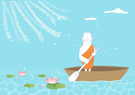 Buddhist riding boat on pond Illustration