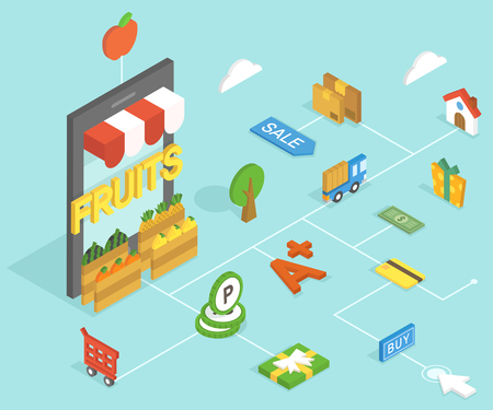 3D fruits isometric infographic with icon