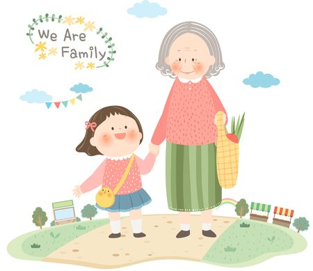 Grandmother and Granddaughter shopping  イラスト・ベクター素材