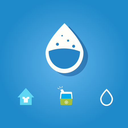 Set of humidity icon on blue background Иллюстрация