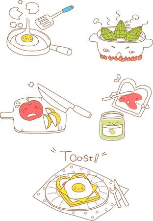 Set of cooking logo design Çizim