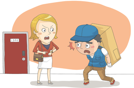 Woman getting angry about late delivery