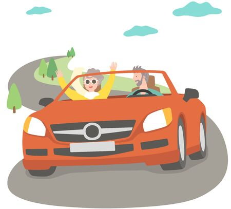 The aged couple driving car Illustration