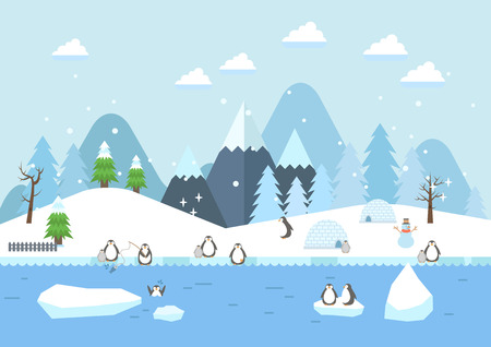 Winter river with penguins scenery