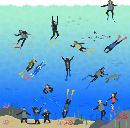 Many people enjoying skin scuba Illustration