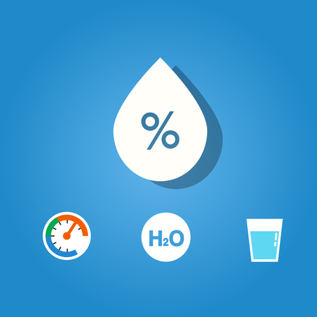 Set of humidity icon on blue background Vectores