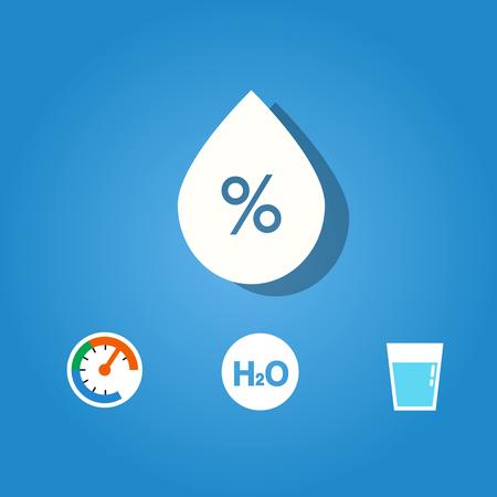 Set of humidity icon on blue background Illustration