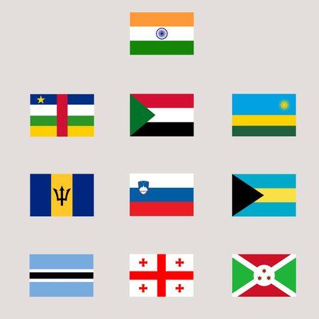 Set of various world flag Reklamní fotografie - 90842947