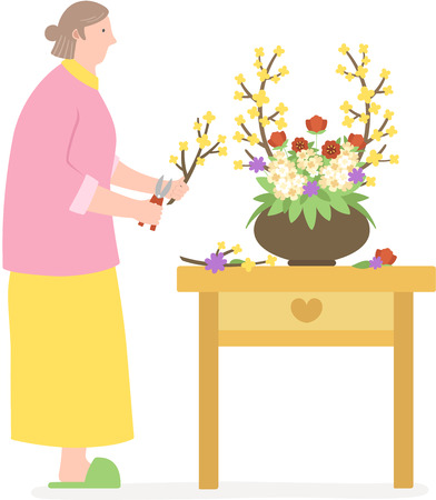 The aged woman arranging flower