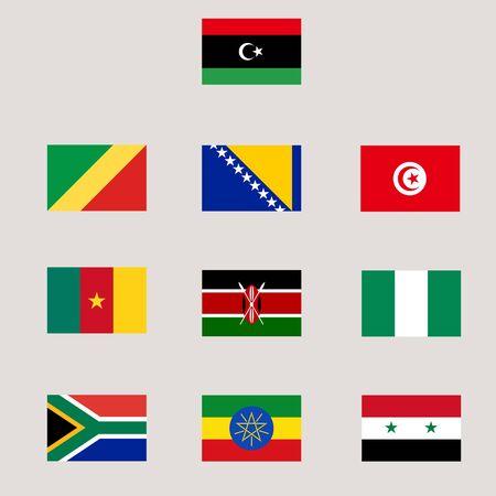 Set von verschiedenen Welt Flagge Standard-Bild - 90844331