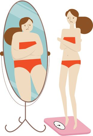 Woman think she is fat Illustration