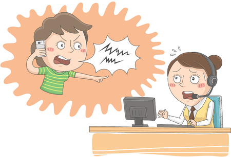 Angry woman calling call center