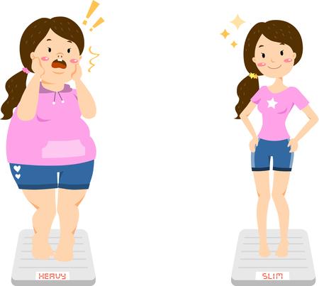 Woman diet measuring het weight