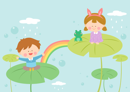 Children playing on lotus leaves Illustration