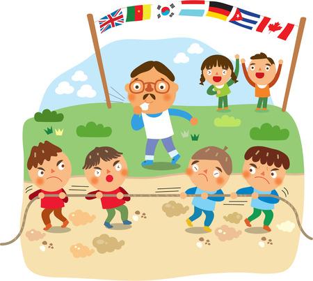 학교 스포츠상의 날 어린이들